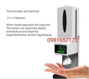 máy rửa tay tự động kèm đo nhiệt độ 2 trong 1
